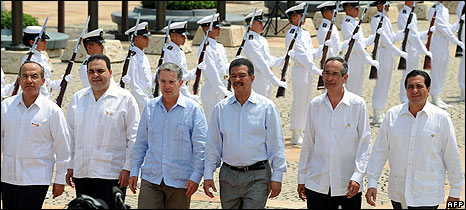 The presidents of (from left) Mexico, El Salvador, Colombia, Dominican Republic, Guatemala and Panama arrive for the summit