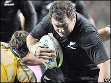 Tony Woodcock scored two first-half tries for New Zealand
