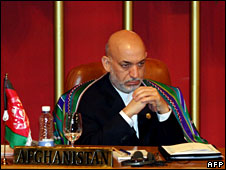 Hamid Karzai at the Colombo summit, 2 August 2008