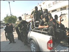 Hamas security forces during clashes with Fatah supporters in Gaza on 2 August, 2008