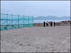 fenced beach close to the place where a tourist was shot dead by a North Korean soldier - 13/7/08