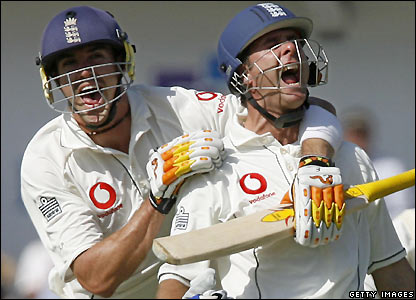 Kevin Pietersen and Vaughan celebrate the captain's ton