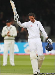 Vaughan celebrates his ton in the first Test at Lord's