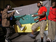 Zuma supporters dance outside Pietermaritzburg High Court