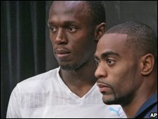 Usain Bolt (left) with Tyson Gay
