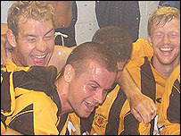 Annan players celebrate at Central Park