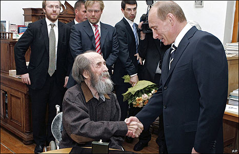 Alexander Solzhenitsyn and Vladimir Putin in 2007