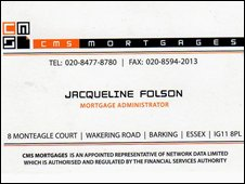 Business card of mortgage advisor