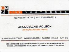 Business card of mortgage advisor