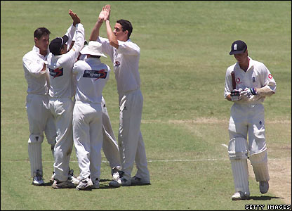Pietersen celebrates Vaughan's wicket