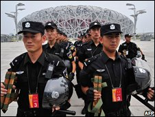 Chinese police near the Olympic stadium
