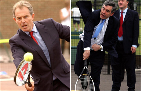 Tony Blair and Gordon Brown playing tennis at separate events