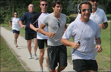 French President Nicolas Sarkozy jogging