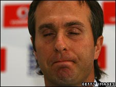 Michael Vaughan closes his eyes and clamps his lips