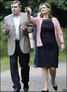 Gordon Brown and his wife Sarah on holiday, summer 2008