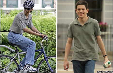 Democrat presidential hopeful Barack Obama and Foreign Secretary David Miliband