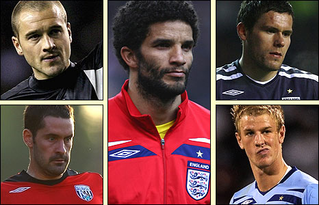 Clockwise, from top left: Paul Robinson, David James, Ben Foster, Joe Hart and Scott Carson