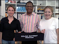 Celine Rattray (l) and Daniela Taplin Lundberg (r) with Alvin Hall