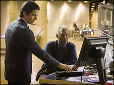 Morgan Freeman and Christian Bale in The Dark Knight