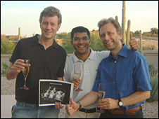 Tom, Sanjay and Urs celebrate their success