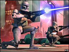 Clone troopers fight against an army of battle droids