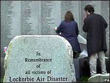 People visit the Lockerbie Garden of Remembrance (image from May 2000)