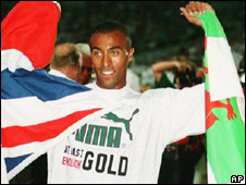 Colin Jackson after winning he world 110m hurdles title in 1993