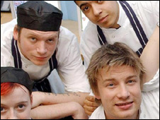 Tom Baisden (back left) and Jamie Oliver (front right)