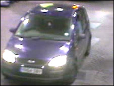 CCTV of the Ford Focus at the garage (police picture)