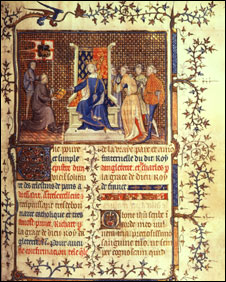 King Richard II receiving the book from the author Philippe de M Mezieres