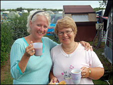 Irene Harding (left) and fellow camper Lisa Henderson