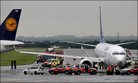 Damaged planes at Manchester Airport