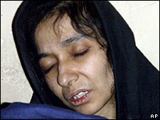 Aafia Siddiqui, pictured in custody
