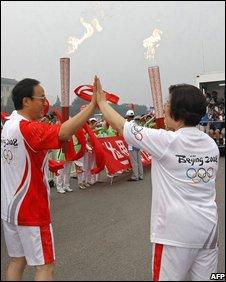 Torch bearers in Beijing