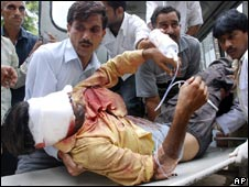 An injured protester in Jammu on 5 August 2008