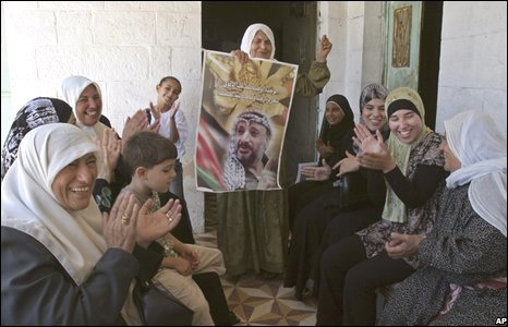 West Bank women celebrate relative's release from jail