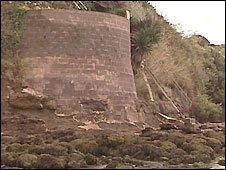 Reg Bratt's concrete wall to protect his garden