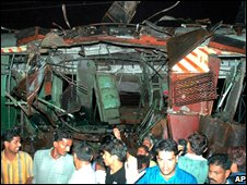 Aftermath of bomb blast in Mumbai in July 2006