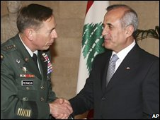 Gen David Petraeus with President Michel Suleiman