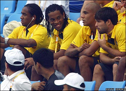 Ronaldinho and team-mates watch Brazil taking on Germany in Shenyang