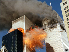 The World Trade Center in New York is struck by a second passenger jet (2001)