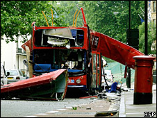 Aftermath of 2005 bombing in Tavistock Square, London