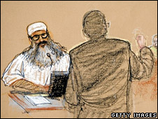 Court drawing of Khalid Sheikh Mohammed during trial at Guantanamo Bay (2008)