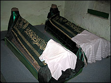 Coffins inside the tekke