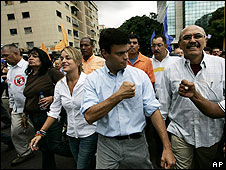 Leopoldo Lopez (centre) meets supporters at the protest march in Caracas