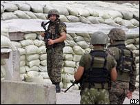 Грузинские военные в селении Эргнети