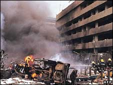 A picture taken on August 7, 1998 at the site of a huge bomb explosion that shook a bank building and US embassy in central Nairobi