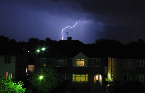 Forked lightning in Hassocks, West Sussex - photo by Greg Haines