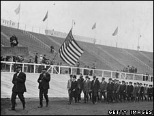 Americans process into the stadium