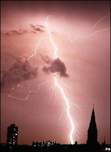 Lightning over a church in south London